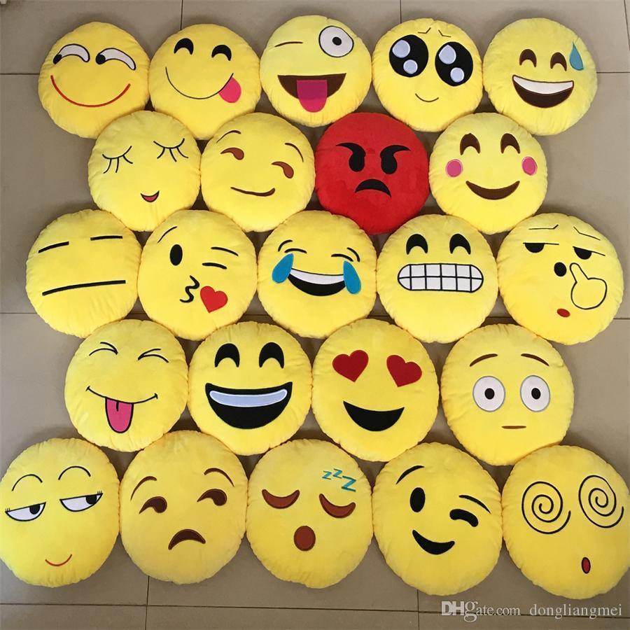 new Cushion Cute Lovely Emoji Smiley Pillows Cartoon Facial QQ Expression  Cushion Yellow Round Pillow Stuffed Plush Toy#B03