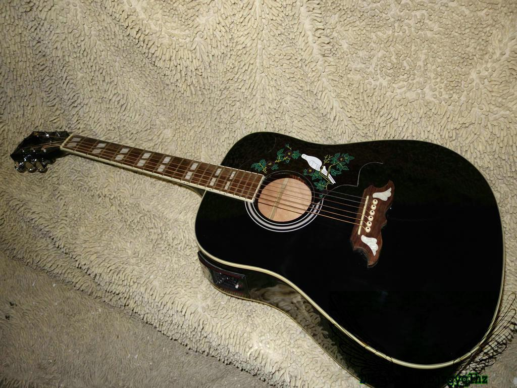 black electric acoustic guitar with eq birds high quality china guitars oem hot electric guitar. Black Bedroom Furniture Sets. Home Design Ideas
