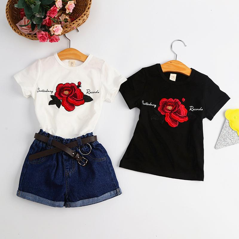 aa6af995e8c HUG ME Girls Short Sleeve T Shirt Big Girl Rose Flower Printing T Shirt  Tops Flower Pendant Necklace Tops Baby Clothes Black White Girls Birthday T  Shirts ...