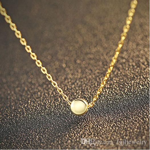 Latest silver jewelry for Girls Online Shop China gold plated 925 Sterling Silver Pendant Necklace female small exquisite round pea necklace