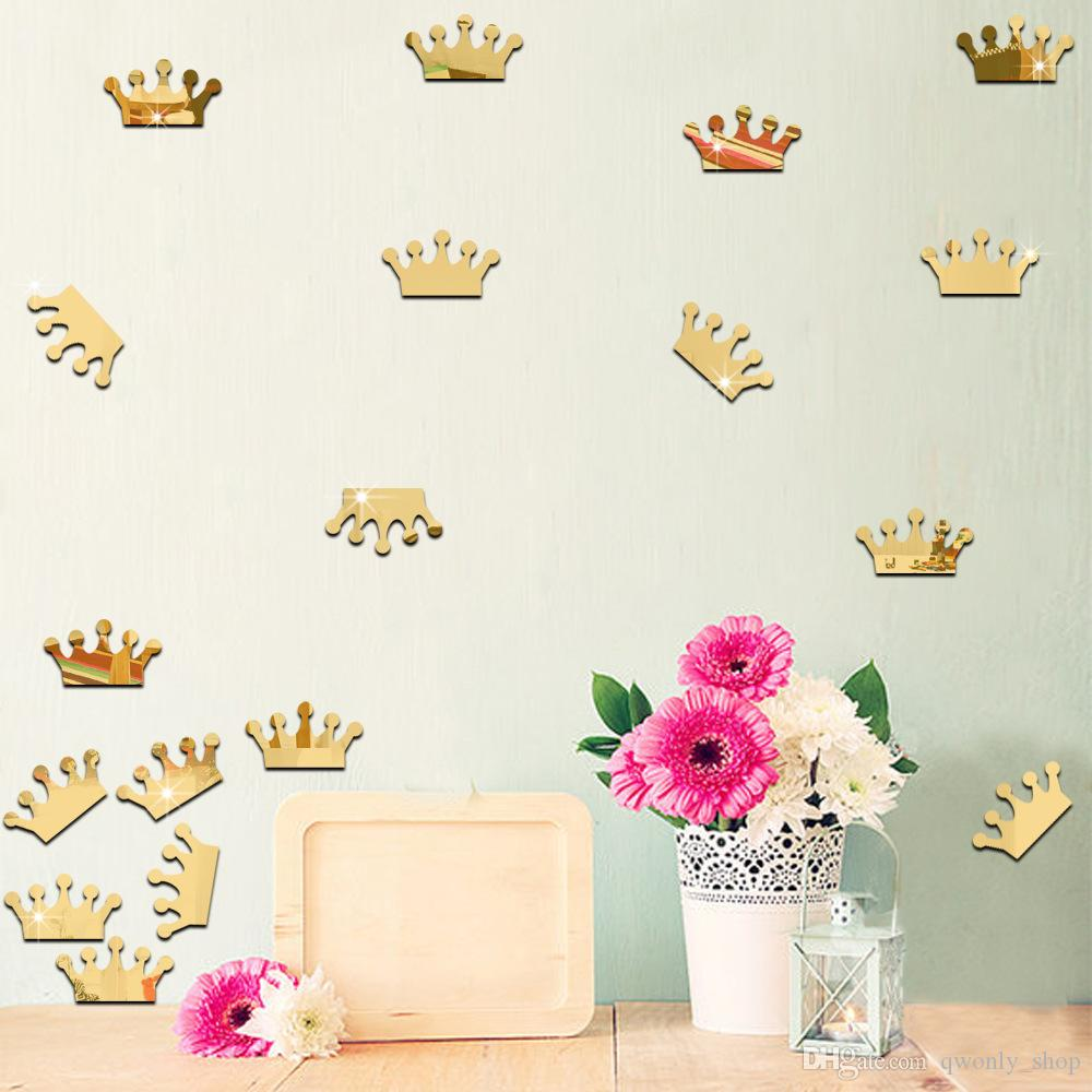 3D Acrylic Mirror Wall Stickers Kids Room Decoration Gold Silver Princess Crown Shape Sticker Wall Art Decals Home Décor
