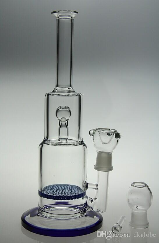 """sest shop New 11""""inches glass water pipe honeycomb perk glass bong good quality big glass bong herb tobacco bong"""