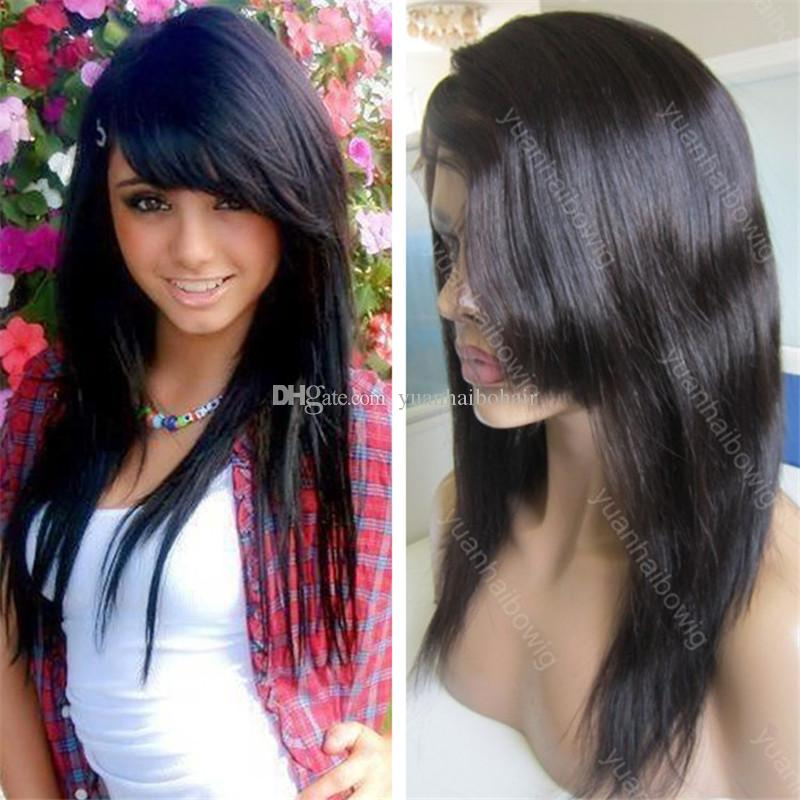 Side Bangs Lace Front Wig 1b High Quality Indian Straight Human Hair