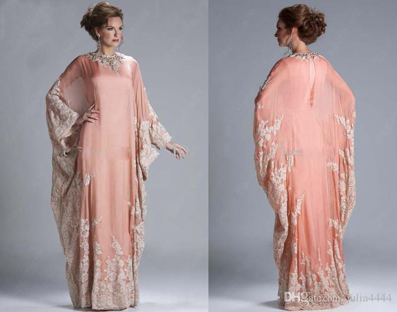 Abaya Kaftan Dubai melocotón mangas largas vestido de noche barato de encaje de gasa apliques mangas largas de encaje formal vestido de las mujeres vestidos de baile