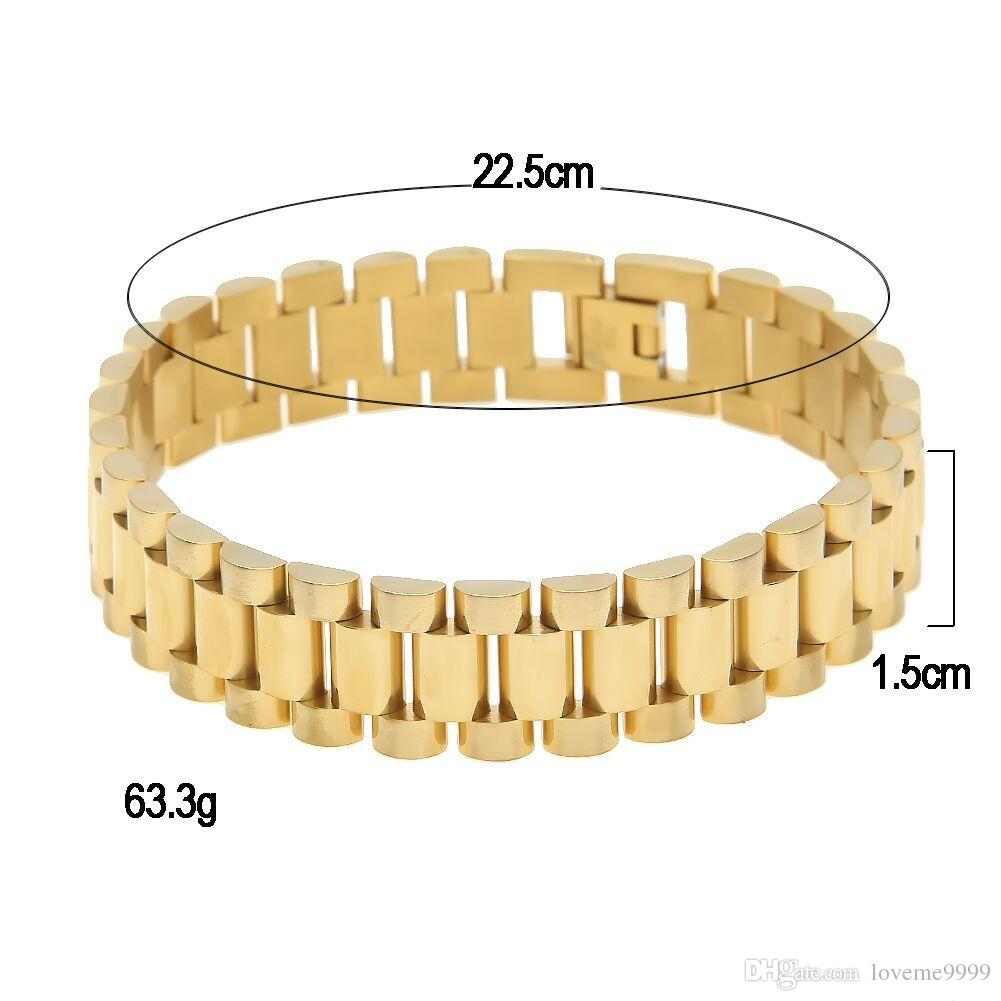 Wholesale Price 24K Gold Plated Vintage hitg quality 316L Stainless Steel Filled Watchband Design Bracelet Men Jewelry Fine Bangle