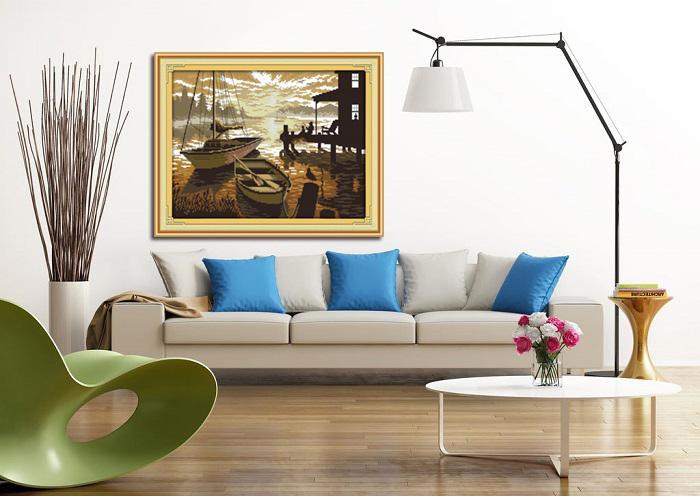 La pesca al tramonto Scenario, FAI DA TE fatti a mano Punto croce Set di cucito Kit di ricamo dipinti contati stampati su tela DMC 14CT / 11CT