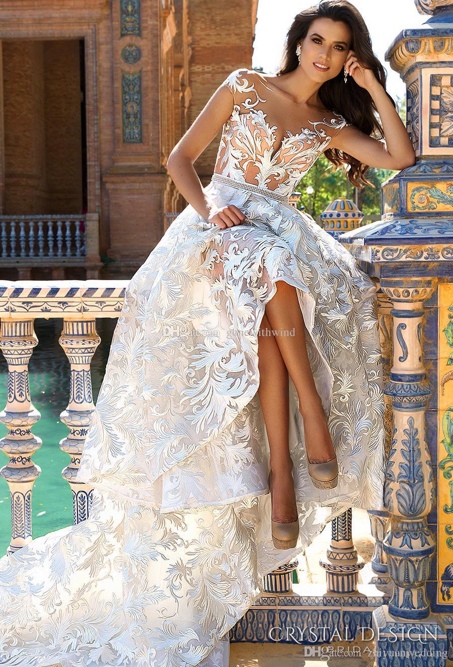 Großhandel Prinzessin Glamouröse Romantische Spitze Brautkleider ...