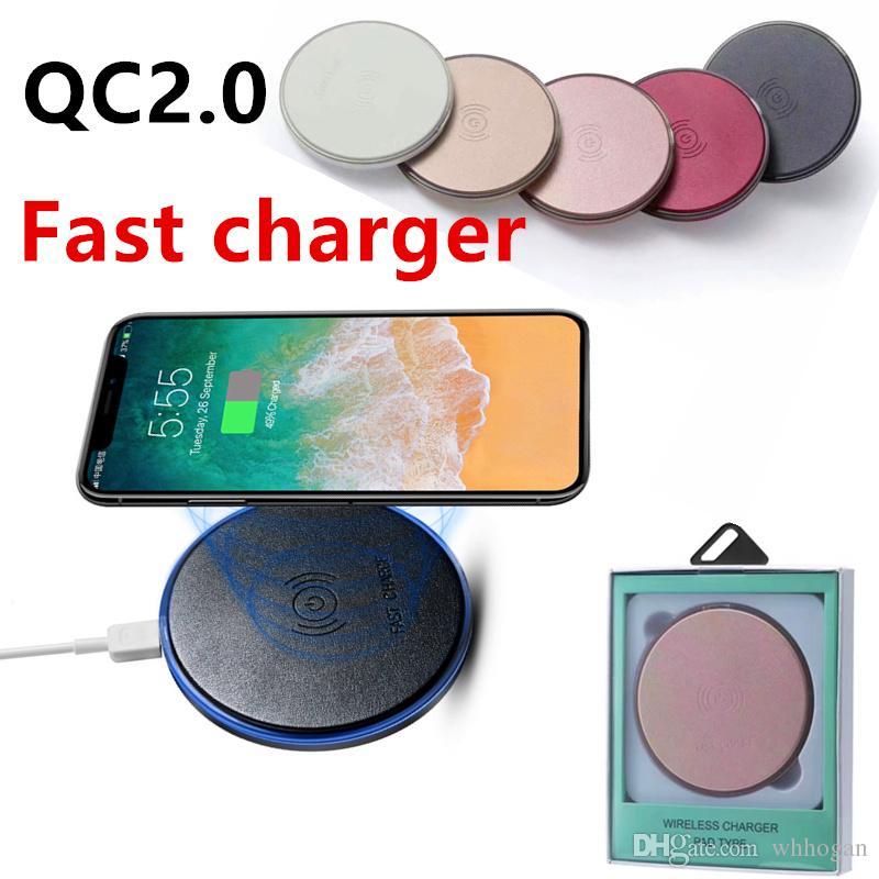 2017 Nuevo cargador rápido Qi cargador rápido Qi 9V 2A de carga para el iphone x 8 Samsung Galaxy S7 Edge S8 Plus NOTA 8 HTC SONY con paquete
