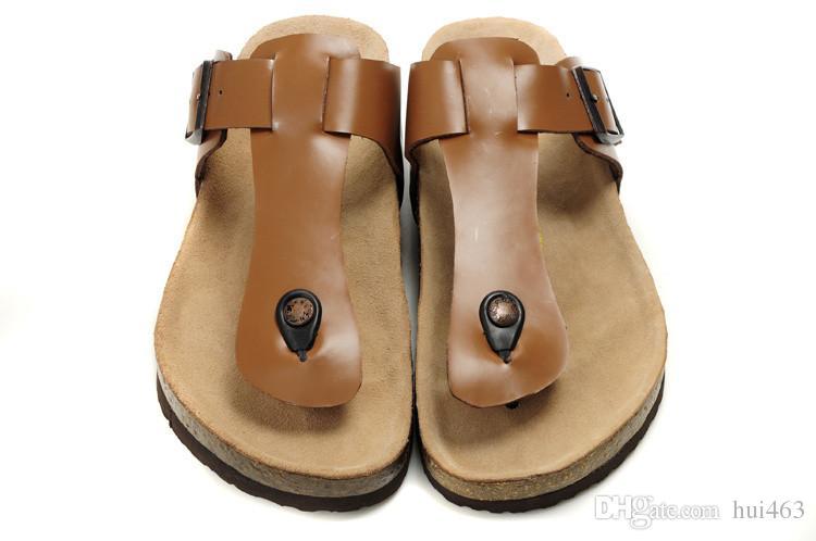 c11cc18fbd9 Famous Brand Arizona With Orignal Brand Logo Men S Woman Flat Sandals  Casual Flip Flops Single Buckle Summer Beach Genuine Leather Slippers  Ladies Footwear ...