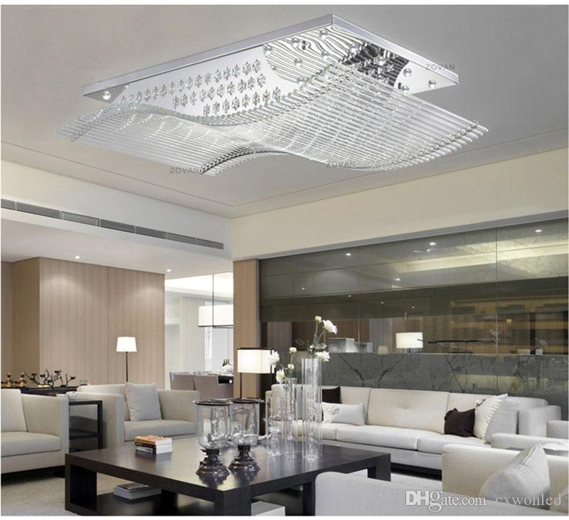 modern Square crystal lights K9 crystal chandelier ceiling lamp with light sources for living room LED home lighting