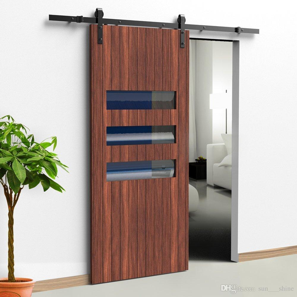 2018 12ft Black Bending Design Sliding Roller Barn Single Wood Door