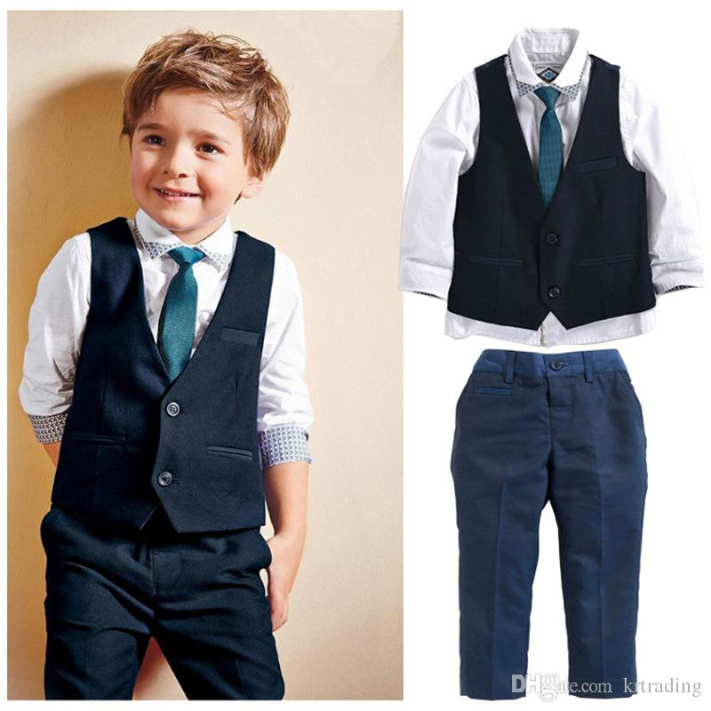 Handsome boys gentlemen suits 4pc set baby clothes Turndown collar shirt+Waistcoat+Trousers+Tie boys outfits for kids 2-7T