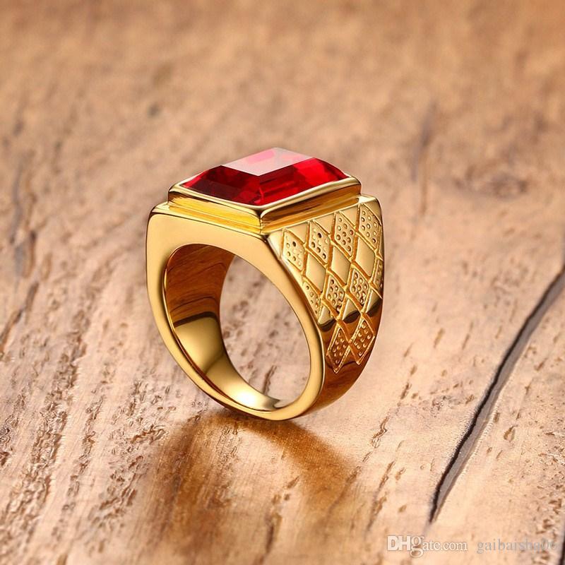 MEAGUET Big Stone Männer Ring Gold-Farbe Edelstahl Male's Fingerringe Cool RC-266