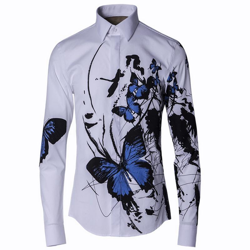 c11f4bd5b0e 2019 Wholesale 2016 Stylish Men Shirt Luxury Brand Designer Ink Blue  Butterfly Print Floral Shirts Men Long Sleeve Cotton Slim Fit Dress Shirts  From ...