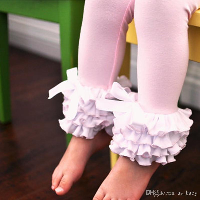 أطفال السراويل 3 طبقات النعناع أكوا الجليد كشكش طماق السراويل الطفل لا القوس ل 1-8 طن ربيع الخريف الأصفر الوردي الملابس