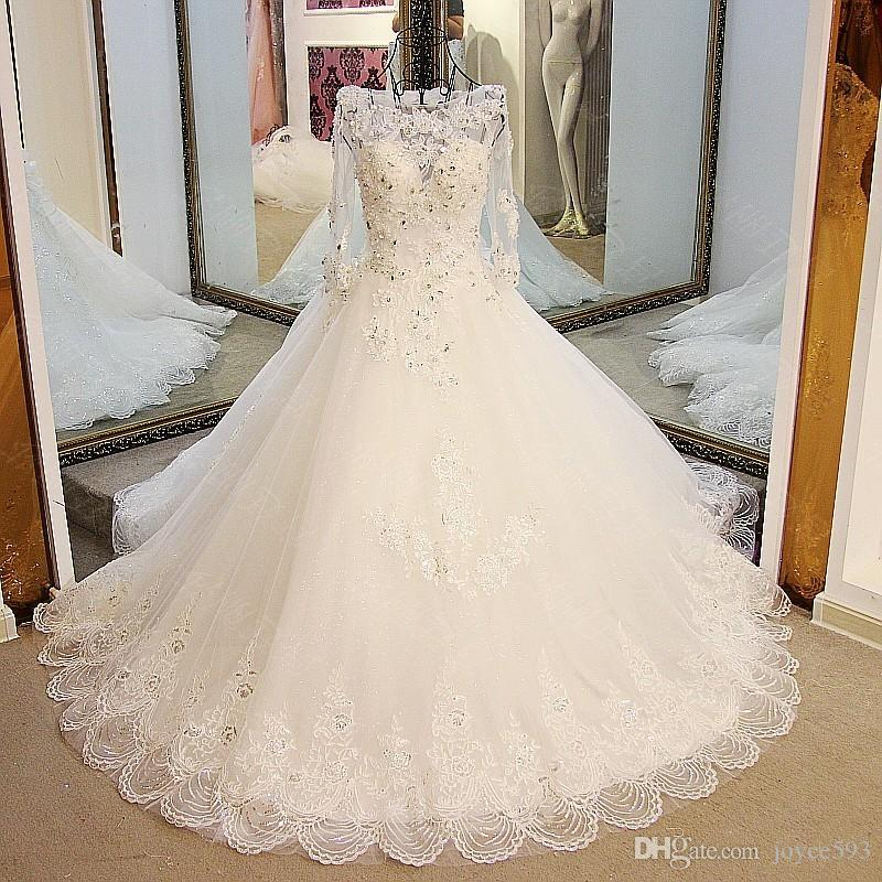 New Style Lace Beading Luxury White Wedding Gown Romantic Long Sleeve Backless Embroidery Train Vestido Bride Dress F Ball Ballgowns