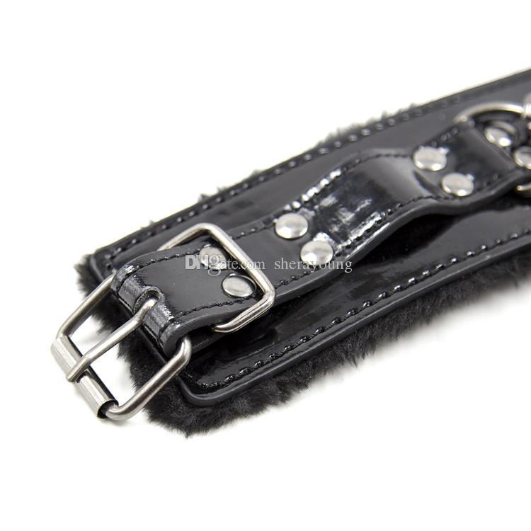 BDSM Handcuffs Wrist Leg Foot Cuffs BDSM Bondage Gear Restraints Adult Sex Toys for Women Black Furry GN252420052