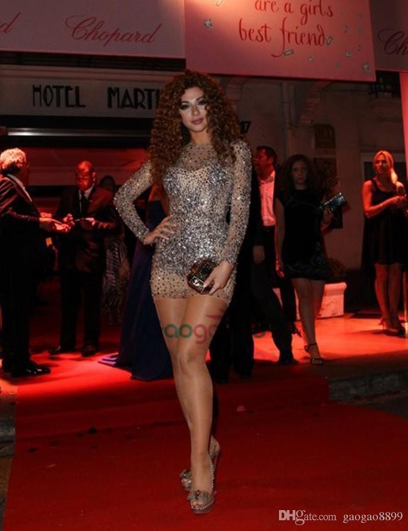 Myriam Fares Jewel Ausschnitt Perlen Steine Langarm Short Prom Party Kleider 2019 Illusion Neck Mini Cocktail Formelle Kleider