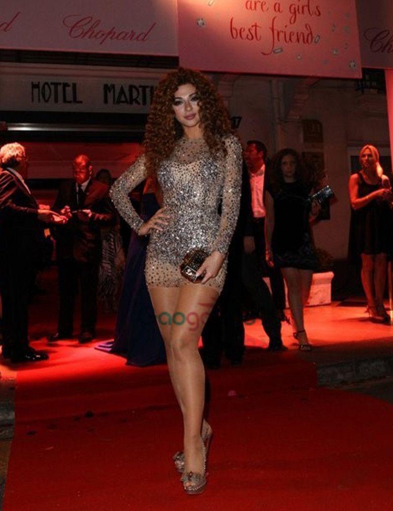 Myriam Fares joyau décolleté pierres perlées manches longues robes de soirée de bal d'étudiants 2019 Illusion cou Mini Cocktail robes de soirée
