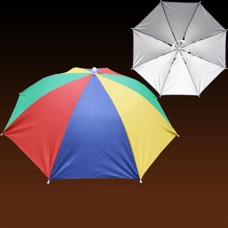 Sunny Umbrella Cap Sunscreen Hiking Beach Camping Head Hats Fishing Headwear Sun Sunshade Rainy Umbrella Hat Rain Portable Folding