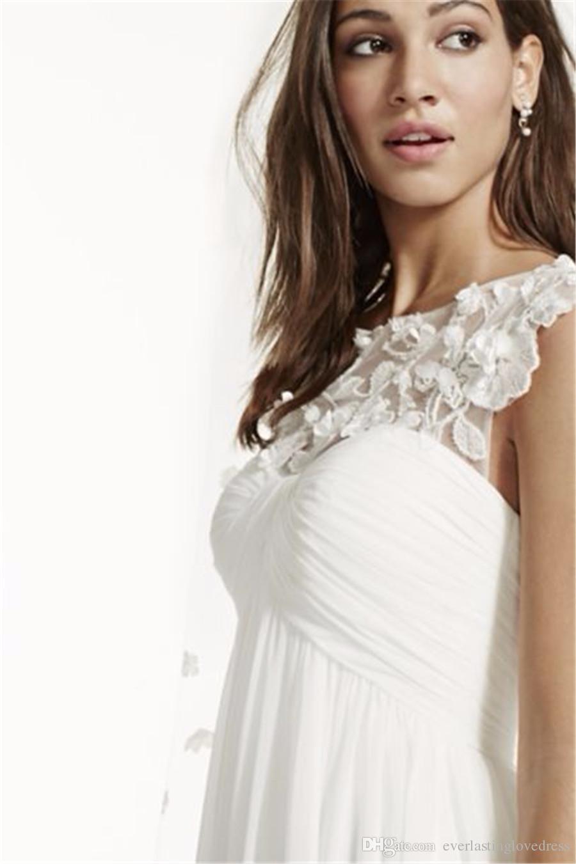 Cap Sleeve Şifon A-Line Çiçek Aplike ile WG3698 Zarif Gelin Elbise Basit Hiçbir Teklif Peçe vestido de novia