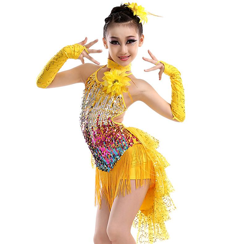 a7bb6b0bb 2018 Blue Yellow Red Tassel Latin Dance Costumes For Kids Sequined Tango  Samba Costume Rumba Dance Dress Girl Competition Dance Wear From Dada1234,  ...