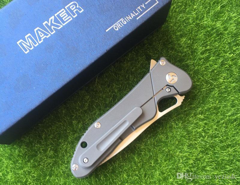 제조 업체 3 디자인 원래 세라믹 볼 베어링 플리퍼 접이식 칼 S35vn 100 % TC4 티타늄 핸들 캠핑 사냥 주머니 칼 EDC 공구