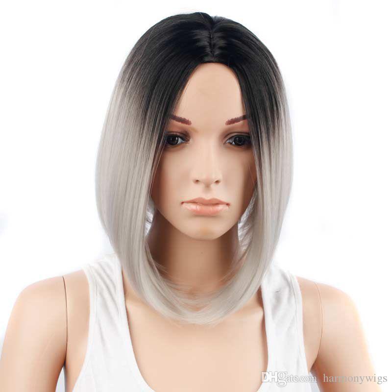 Parrucche capelli sintetici parrucche corta bob parrucca ombre color 12 pollice resistente al calore resistente ai capelli sintetici stile popolare