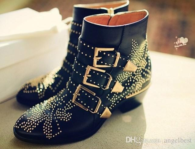 2017 autumn hot england style rivets women ankle boots buckles genuine leather martin boots vintage low heel work shoes big size