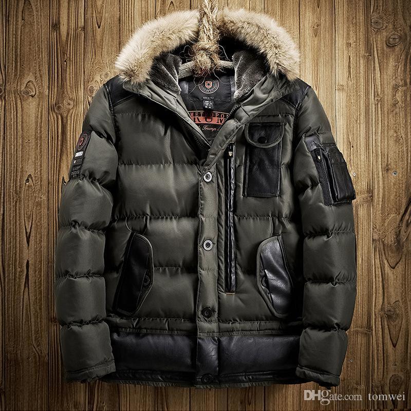 2017 2017 Mens Winter Jacket Down Parkas Long Coat Hooded Fur ...