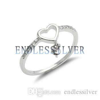 Heart Dangle Pearl Ring Settings Zircon 925 Sterling Silver DIY Jewellery Finding Mountings for Pearl Party