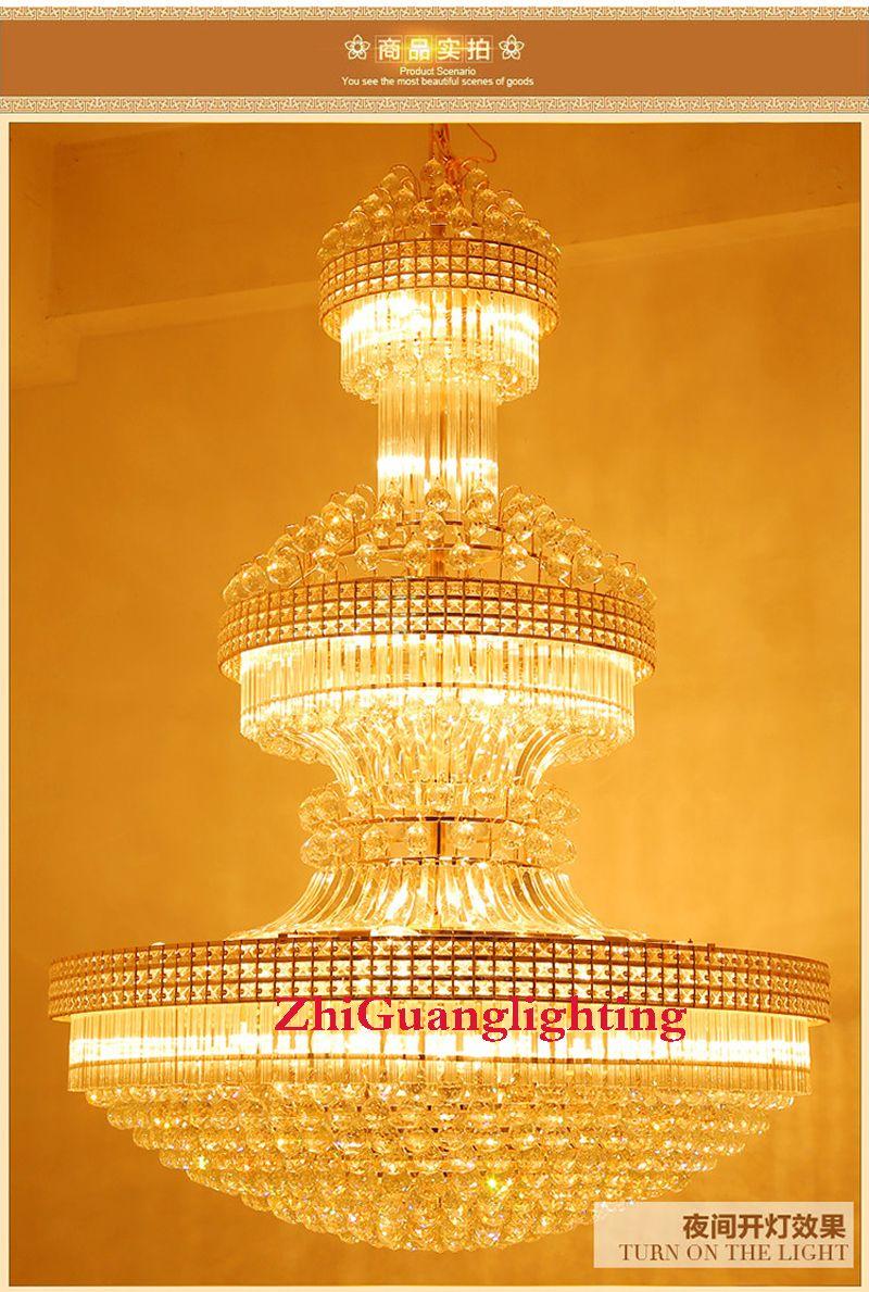 الملكي الإمبراطورية الذهبي كريستال الثريات دوبلكس فيلا الدرج الكريستال الثريا الكريستال كبير حديث طويل شنقا مصباح الفندق