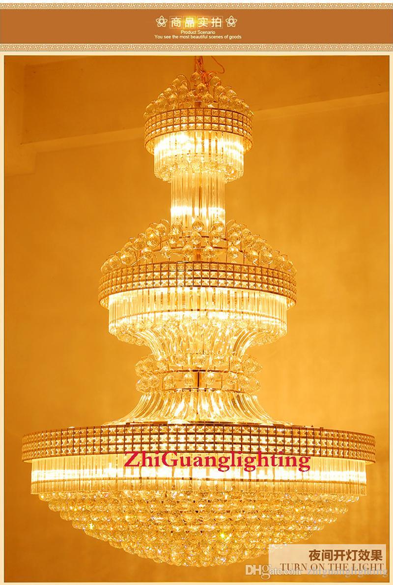 Royal Empire Golden Crystal Chandeliers Duplex villa scala lampadario di cristallo di cristallo grande moderna lunga lampada a sospensione hotel