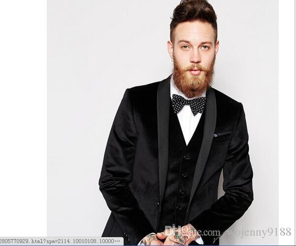 2017 Black Men Wedding Suits Party Dress Mens Tuxedos Business Suit Blazer Office Wear Jacket Pants Vest Tie