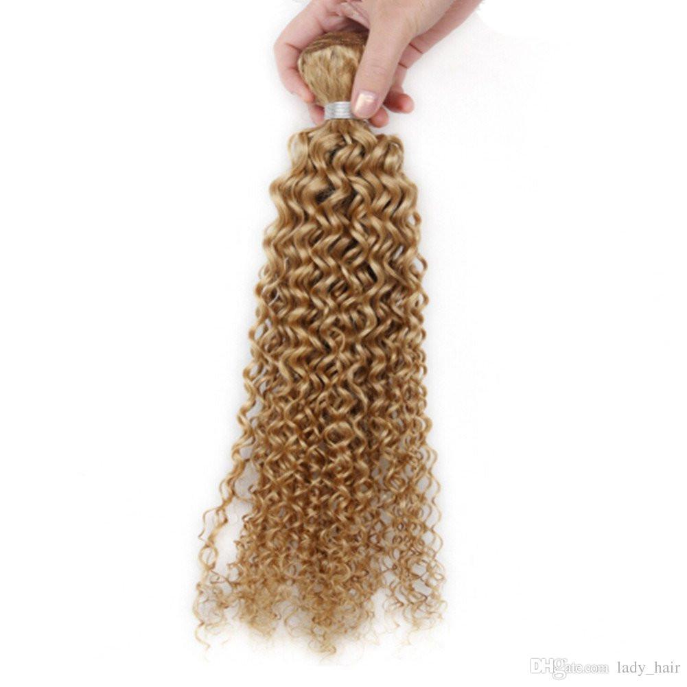 Honey Blonde Brazilian Human Hair Weaves Extensions Kinky Curly Strawberry Blonde Virgin Remy Hair Bundles Deals Pure #