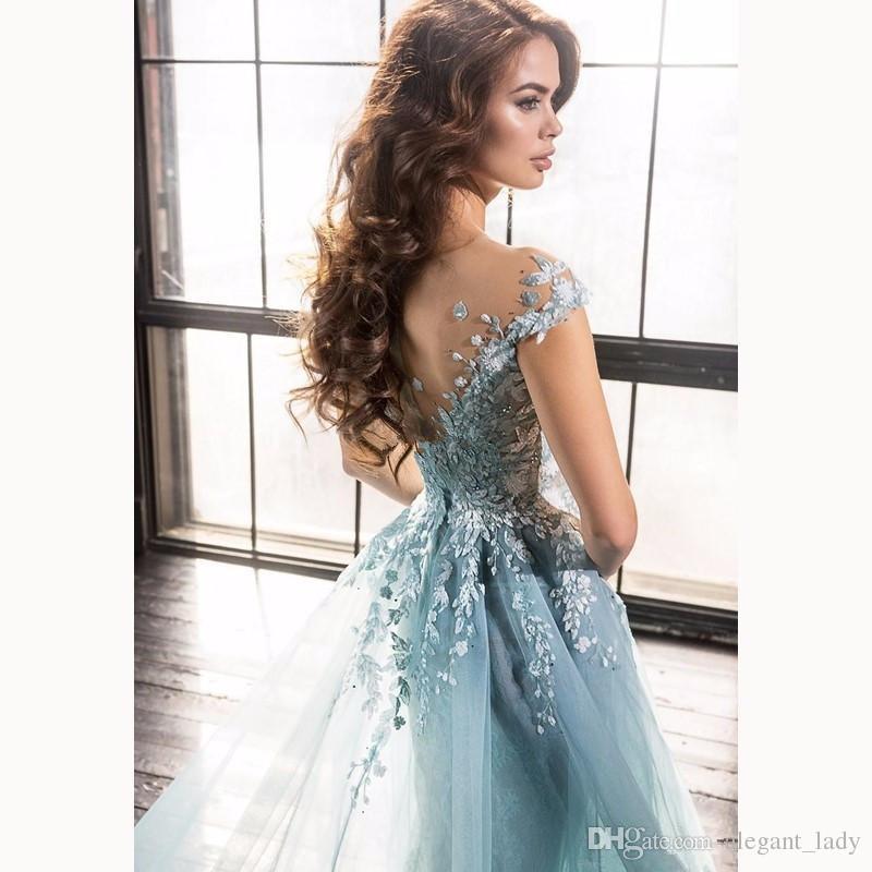 Light Sky Blue 3D Floral Meerjungfrau Abendkleider tragen bescheidene Dubai Arabisch über Röcke Flügelärmeln Anlass Prom Party Kleider Ellie saab