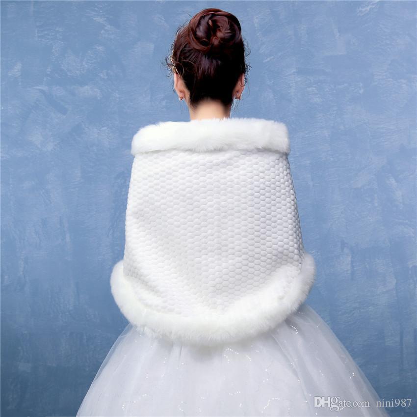 Réel échantillon Imitation Cape De Fourrure En Gros D'hiver De Mariée De Fourrure Châle blanc Brides Formelle Accessoires Fausse Fourrure Wrap