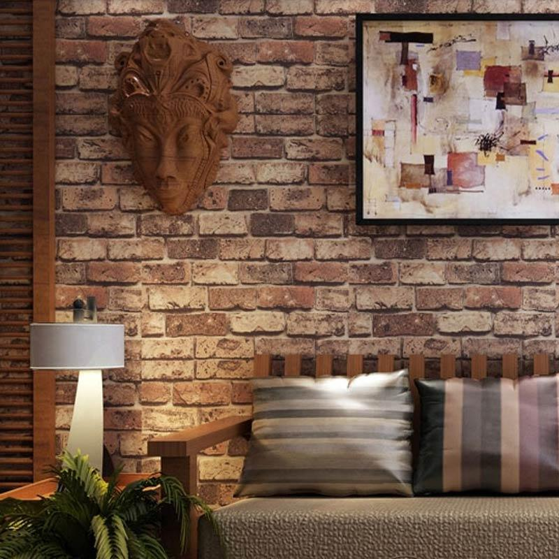 Wholesale red brick stone paper wall natural rustic vintage 3d effect designer vinyl wallpaper for Brick wallpaper interior design