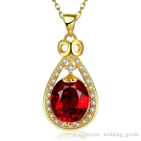 Hot sale women's Water droplets 18k gold jewelry pendant necklace WGN884,A++ Yellow Gold red gemstone Necklaces with chains