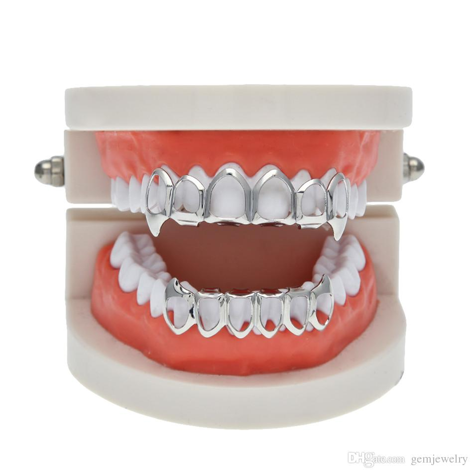 New Hip Hop Custom Fit Grill Six Hollow Open Face Gold Mouth Grillz Caps Top & Bottom With silicone Vampire teeth Set