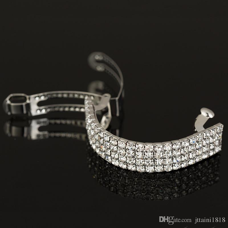 2017 новые девушки мода шикарный Кристалл горный хрусталь Луна зажим для волос взрыва клип заколки для волос Hearwear серебро свадебные аксессуары для волос #H001