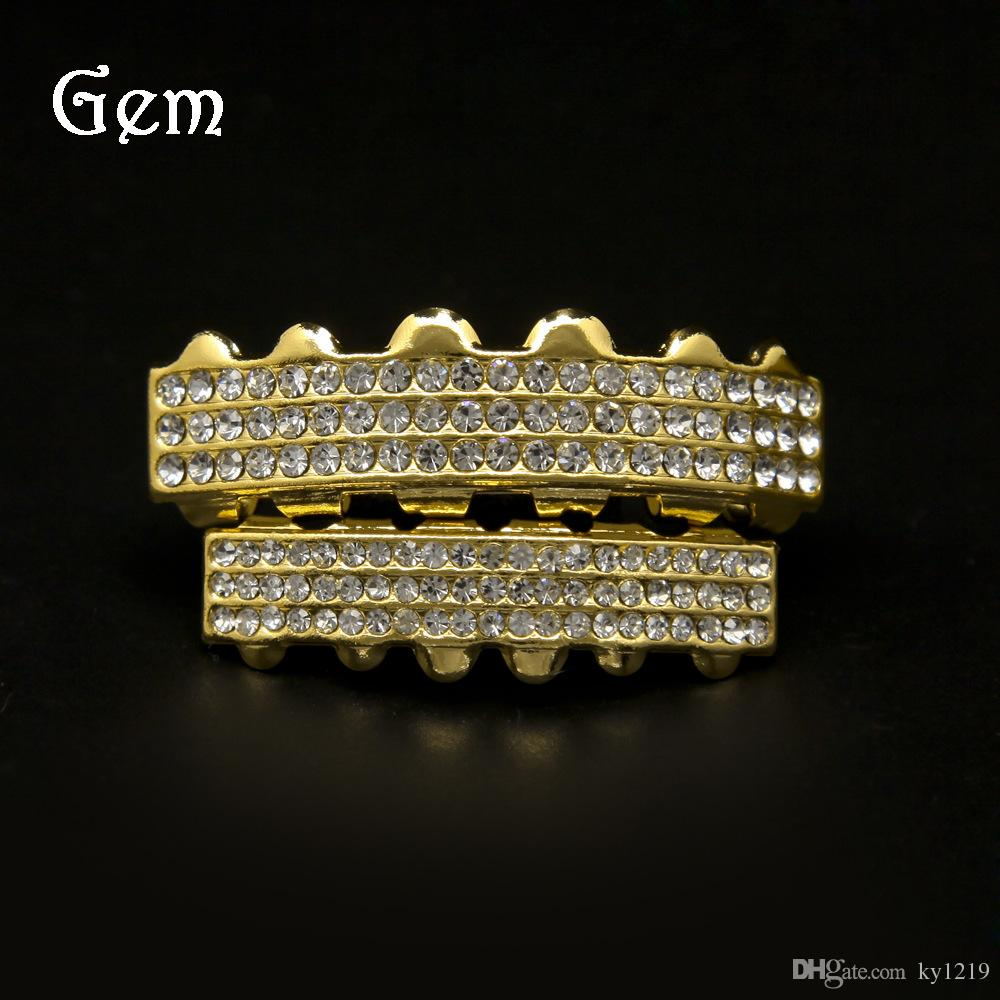 Full Diamond Grillz For Men Top Quality Pop Hip Hop Grillzs Gold Plated Luxury Party Gifts