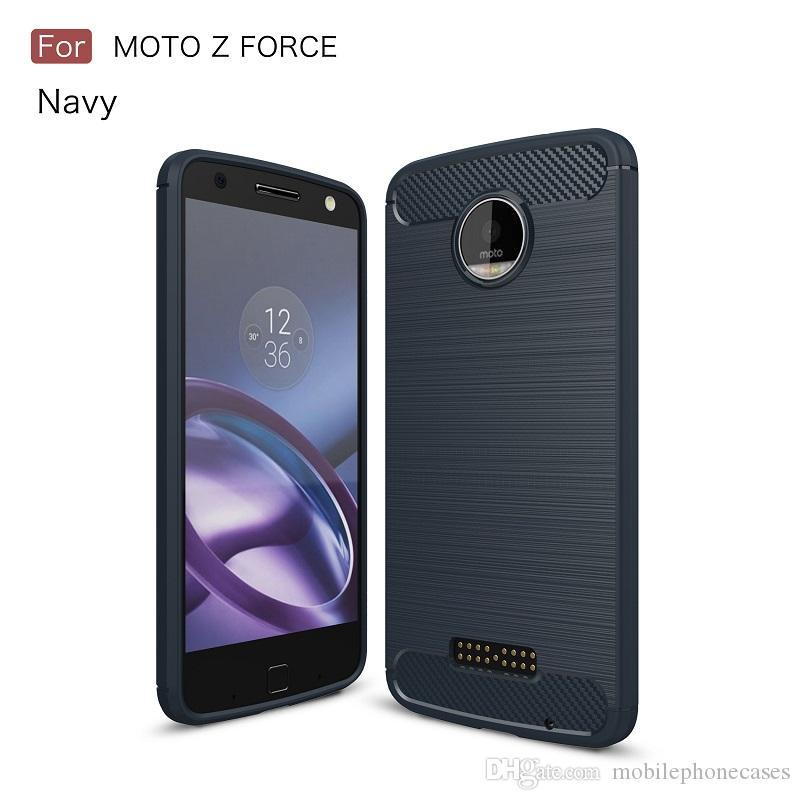 MOBILEPHONE CASE FOR MOTO Z FORCE SOFT TPU CARBON FIBER ARMOR RUGGED FITTED SLIM CASE FOR MOTO Z FORCE COVER ACCENT TEXTURE