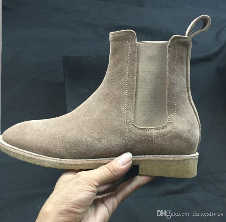 Echtes Leder Wildleder Männer Ankle Booties Slip-on Hip Hop Tanzschuhe Casual Wohnungen Schuhe Cool Street Style Motorradstiefel Schuhe