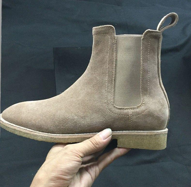 En cuir véritable daim hommes bottines Slip-on Hip hop chaussures de danse appartements décontractés chaussures cool street style moto bottes chaussures