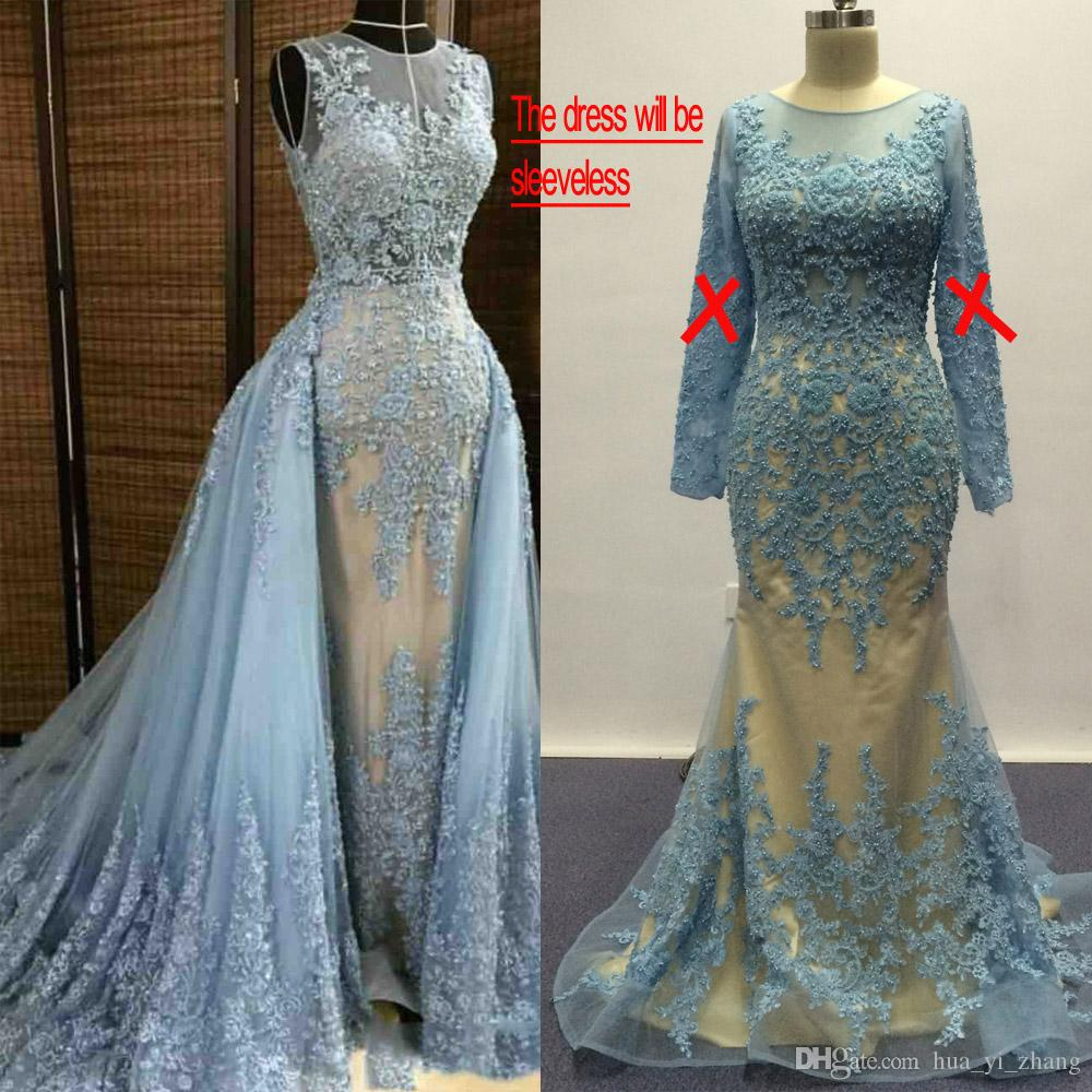 Blue Wedding Dresses 2017 Over Nude Lining Real Images