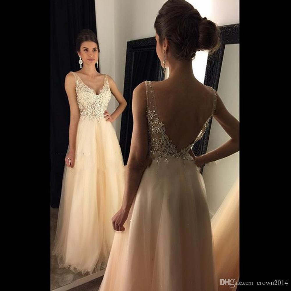 2021 V-Ausschnitt Champagner Ballkleider Perlen Applique Lange Tüll Abendkleider offen Zurück A-Line Lange Perlen Bodenlangen Formale Kleider