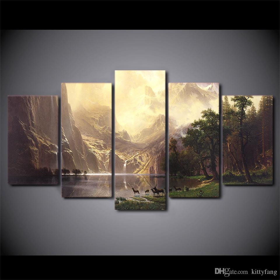 Framed HD Printed Mountain Lake Deers Picture Custom Canvas Prints Animal Oil Painting Artworks Poster