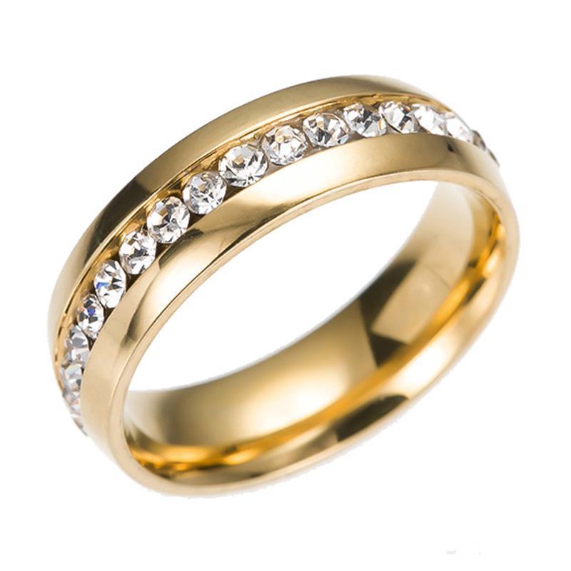 Aço Inoxidável Anéis De Casamento De Cristal Uma Fileira Anéis de diamante Anel de Ouro Anéis de Dedo Anel de Casal banda para As Mulheres Homens Jóias Do Casamento Do Gota Do Navio