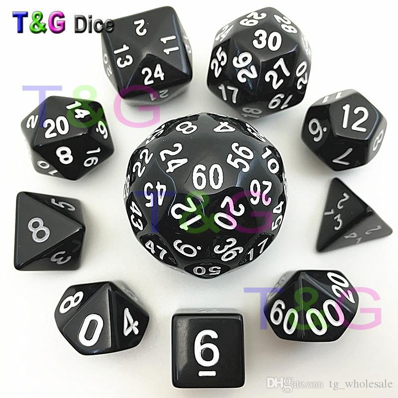 Gros / sac de dés set TG haute qualité d4, d6, d8,2xd10, d12, d20, d24, d30, d60 dés rpg dungeon dragons dd jeu de plateau dados